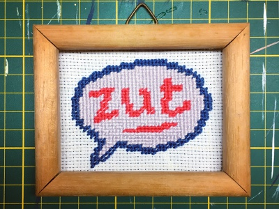 "Mini-embroidery ""zut"" zut art frame words textile design textile typography art type cross stitch strip embroidery typogaphy illustration"
