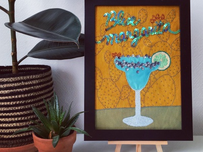 COCKTAIL • Blue margarita embroidered painting frame plant decoration cactus pattern textile bartender alcohol sequins cocktail lettering glass design textile barman creative blue embroidery illustration