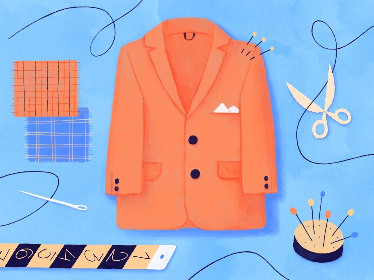 Sur Mesure suit patten blue creative sewing tailor fashion draw illustration