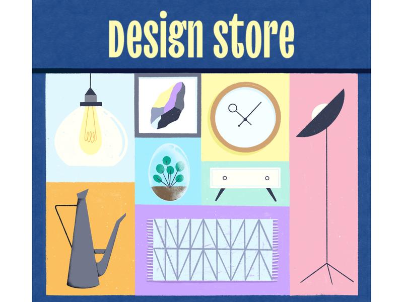 Design store decoration lifestyle object pastel store furniture shop furniture draw design illustration