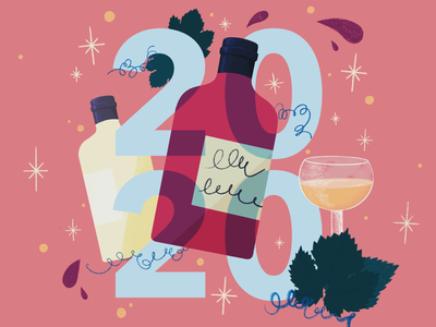 Bonne année 20*20 drinks cheers procreate carte de vœux dry january wish card wine illustration 2020 happy new year bonne année