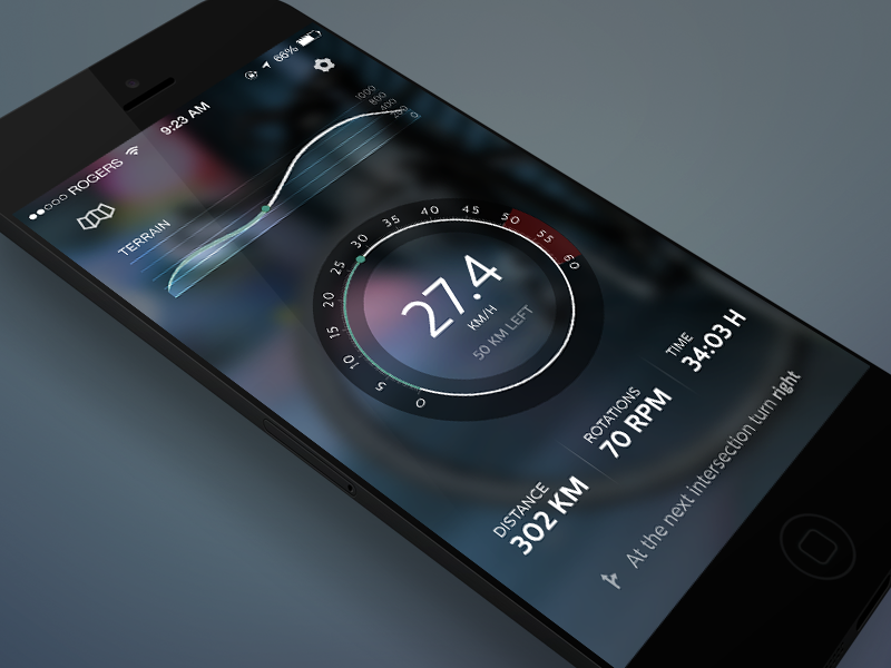 CyclingApp Concept (II) bike app ios concept cycling stats mileage ride speedometer