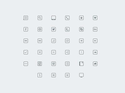 34 Thinicons Free Psd music free set icons social freebie settings list free psd phone thinicons