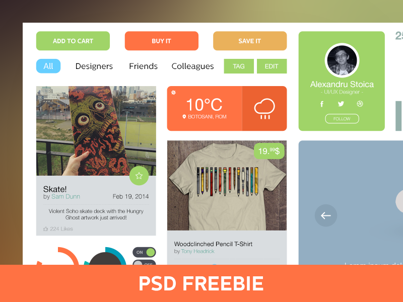 Light UI/UX Kit [PSD] buttons weather profile ui ux freebie psd light kit