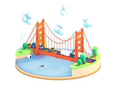 Golden Gate Bridge  windmill boat truck cars bridge city sf illustration golden gate low-poly c4d 3d