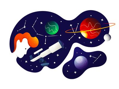 Exporation negative space telescope planet illustration