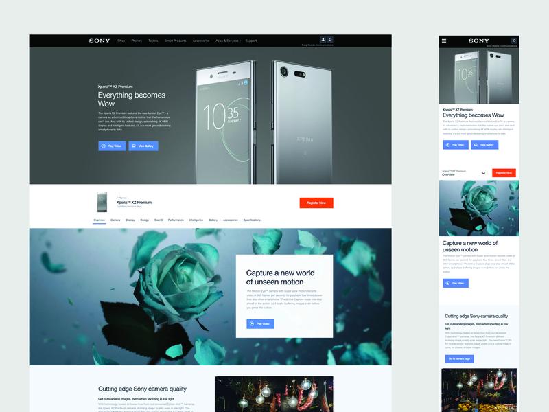 Sony Website website ui