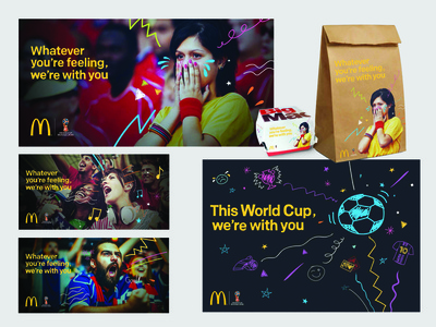 Mcdonalds World cup campaign illustration outdoor advertising poster packaging design