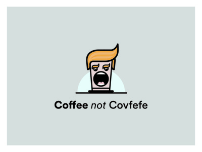Coffee not Covfefe logo political cartoon cartoon design logo vector illustration branding