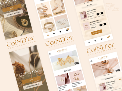 Coin d'or App figmadesign blur accessories femenine fashion logo jewelry branding gradient logo ui ux ios app design design