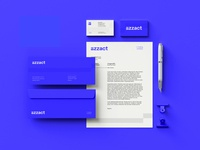 Brand Stationery — Azzact personal brand letterhead business card stationery a letter wordmark logo redesign rebrand brand identity branding brand wordmark logo design logo