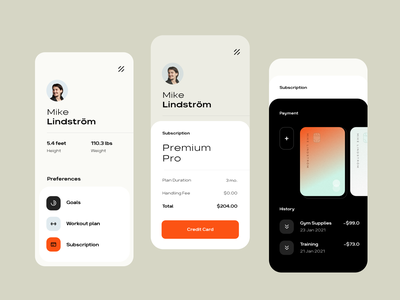 Subscription for Fitness App app ux ui design