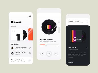 Podcast Listening App clean art illustrator vector minimal illustration ux ui design app