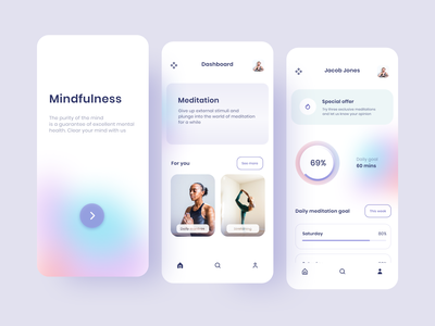Mindfulness App uxui uiux ux ui mobile app design mobile design mobile app mobile app app design stretching mantra meditation app meditating meditation meditate mindfulness mindful mind
