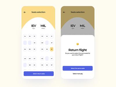 Flight booking app. Seats selection booking app booking flight booking product design user experience mobile app app design application app mobile uiux uxui ux