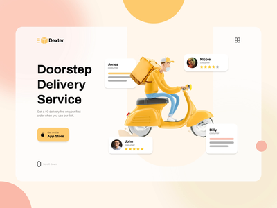 Landing page for Delivery app landing page design colorful colors landingpage landing minimalistic design app delivery app delivery web design noxtton