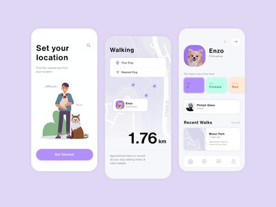 Mobile App for Dogs profile walk location color application app design mobile design mobile ui mobile dog care dog flat web app icon typography ux ui clean minimal