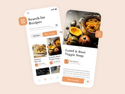 Recipes App ios app food app clean design cooking mobile app color food recipe chef ui ux app ui design