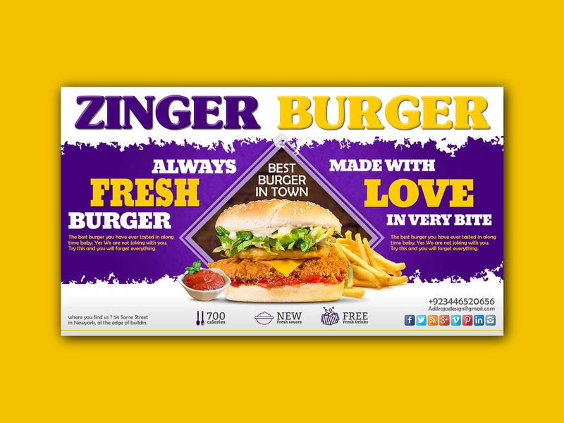 Zinger Burger slider banner ads banner graphic design