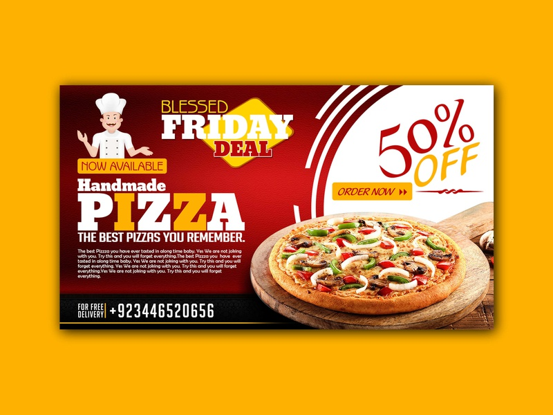 Handmade Pizza slider banner ads banner graphic design