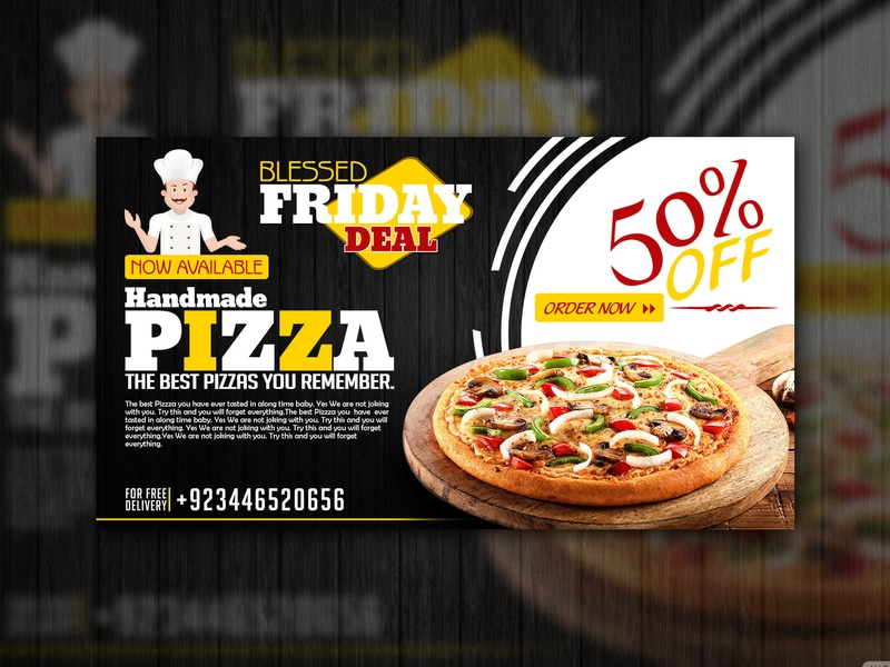 Handmade Pizza Black Slider black slider banner ads banner graphic design