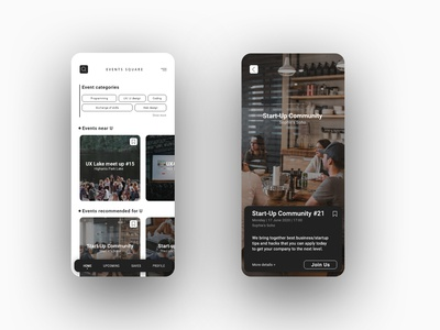 EVENTS SQUARE - minimalistic app design