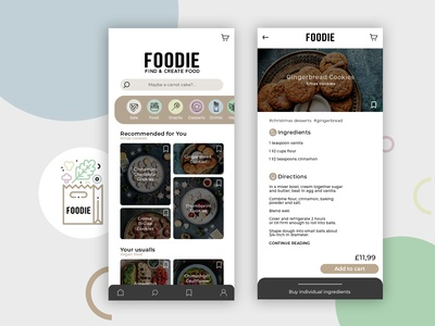 FOODIE - mobile app to search recipes and ingredients to buy
