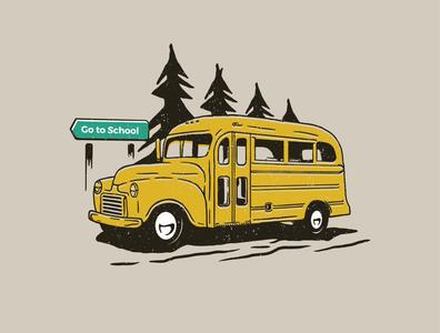 school bus illustration vintage school bus vector retro illustration