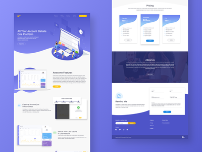 Bank Product Website footer pricing page pricing card design bank app webdesign product website uidesign illustrator 2020 branding ux ui product design product page products website builder website concept website design website