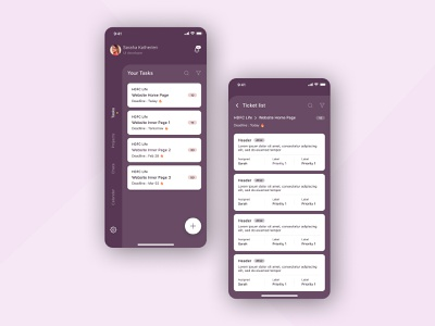 Project Management App management app home screen task management tickets task list uxdesign app color palette product dashboard ui product design project management design 2020 branding ux ui design ui