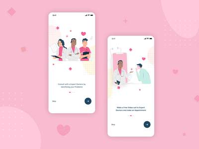 Doctor Consult App On-boarding product design login sign up sign in onboarding screen onboarding ui uidesign branding design mobile app design mobile app get started onboarding vector illustrator 2020 ux ui