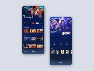 Disney + app ui design uiux marvel comics marvel studios product design video streaming amazon prime video netflix avenger avengersendgame disney world disney 2020 uidesign design ux ui