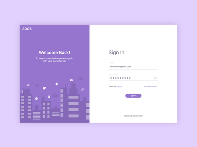 Social Media app sign in signup login screen login page signin web web app website product design uidesign illustrator icons design branding 2020 ux ui