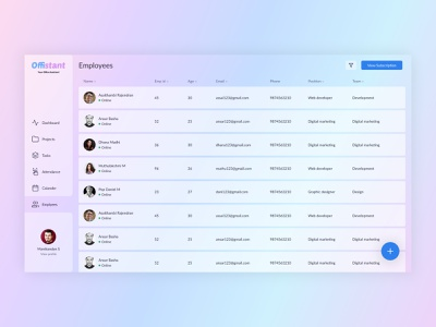 Employee list Glass Effect UI figma product designer dashboard ui office design admin dashboard admin panel uxui uiux web app webdesign ui design product design uidesign illustrator icons design branding ux 2020 ui