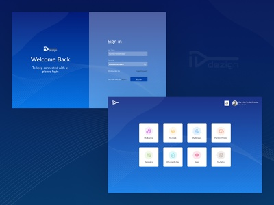 Sign In & Dashboard landing page ui home pagedesign signup login sign in blue dailyui uxdesign ui design dashboard design uidesign website product design illustrator icons branding 2020 ux ui