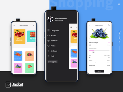 Groceries Shopping App selfie black fruits groceries color shopping cart blue oneplus mobile bank app icon design web mobileappdesign ui ios app illustration