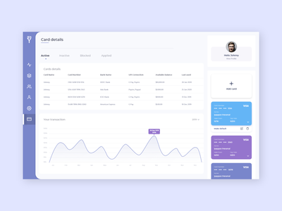 Add Card & Card details ux design ui design product design navigation bar tab web app web app design dashboard design dashboard ui dashboad card design add card cards app uidesign branding 2020 ux ui
