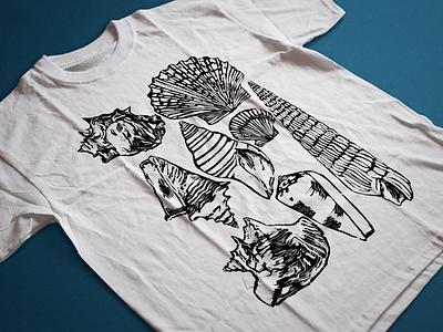 Seashells shirt design Brunotti Part 3 adobe photoshop watercolours linocut photoshop watercolour seashell shirtdesign design illustration