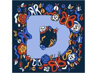 doodled letter D
