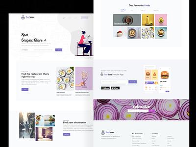 Food Review Website card illustration branding desktop uidesign ui minimalistic color colorful food homepage webdesign website