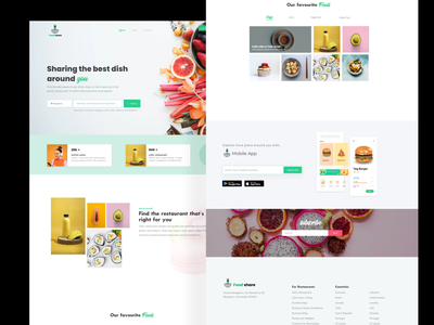 Food Review Website home card design home page card icon typography ux artwork ui landing page color colorful food review web images branding food homepage webdesign