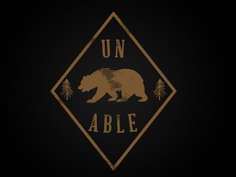Un-Bear-Able typography logo pun bear design illustration