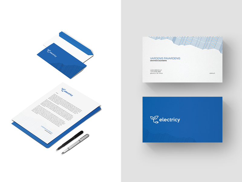 Branding of Electricy business card envelope branding