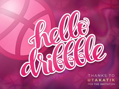 Hello Dribbble! flat lettering hello design illustration typography