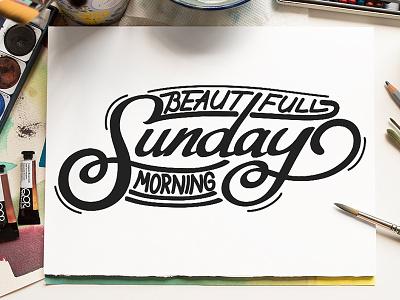 Beautiful Sunday Morning logo illustration design branding typeface quotes font graffiti brush calligraphy logotype handwritten handwriting script type hand lettering calligraphy typography lettering