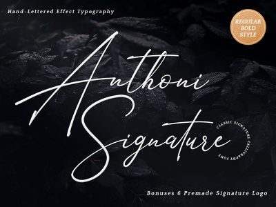 Anthoni Signature Font hand lettering logo handwriting signature branding typeface lettering logotype type script calligraphy typography font