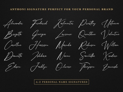 Anthoni Signature Font font design vector handwritten signature font branding handwriting design logo typeface hand lettering logotype script calligraphy typography font type lettering