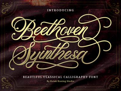 Beethoven Syinthesa Font font design signature vintage vector handwritten illustration logo font branding typeface handwriting design logotype script type hand lettering calligraphy typography lettering