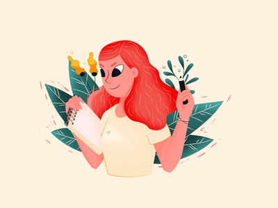 Girl with a sketchbook sketchbook plants flower avatar girl characterdesign vector digital illustration character design illustration