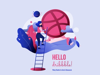 Hello Dribbble digital illustration illustration planet hello dribbble vector character
